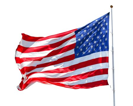 Photo pour American flag waving in the wind isolated on white background, US flag motion close-up, red white blue flag outdoors in sunlight. United States of America national flag. USA stars and stripes - image libre de droit