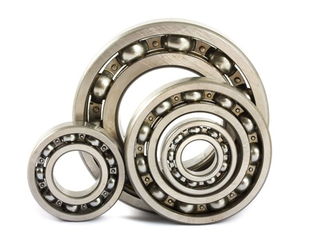 Photo pour Four steel ball bearings isolated on a white background - image libre de droit