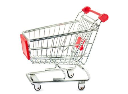 Single empty shopping cart isolated on white background