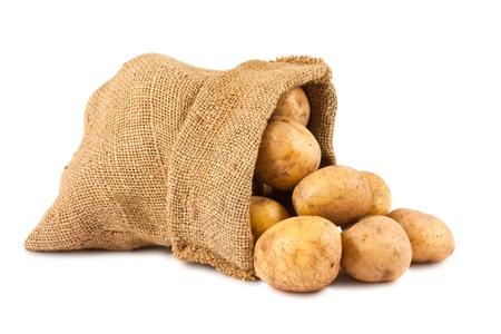Raw potatoes in burlap sack isolated on white background