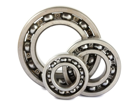 Three ball bearings isolated on white background