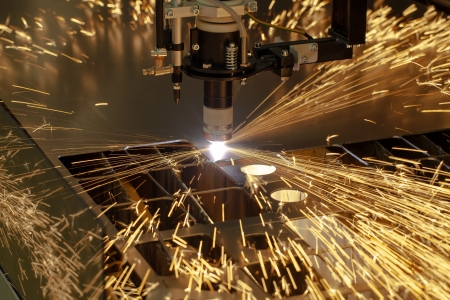 Plasma cutting metalwork industry machine with sparks