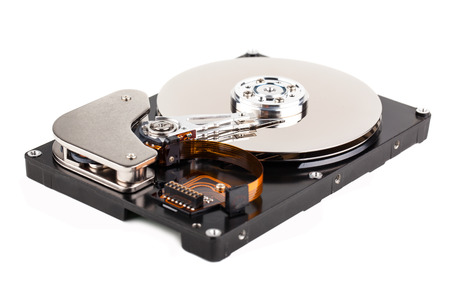 Opened computer hard drive isolated on white background