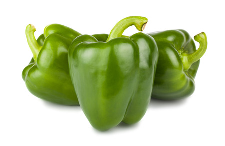 Foto de Three sweet green peppers isolated on white background - Imagen libre de derechos