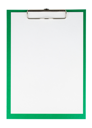 Green clipboard with a blank sheet of paper isolated on white background