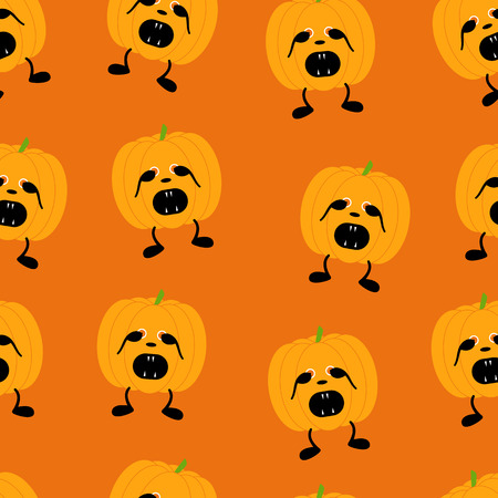 Seamless pattern with orange pumpkin on two black legs with eyes full of fear partly closed by its hands, black nose crying with its mouth full of sharp teeth isolated on bright orange background. For holiday decoration, wrapping paper, wallpaper, gift bo