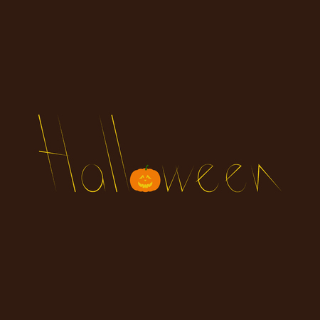 Halloween lettering with creepy orange colored pumpkin as letter o isolated on dark brown background