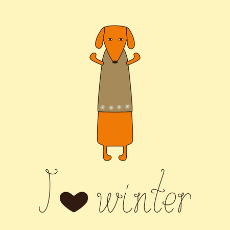 Cute orange colored brown contoured dachshund standing on hind legs with dissolved forelegs in beige waistcoat decorated with snowflakes and calligraphic lettering I love winter with heart isolated on white background