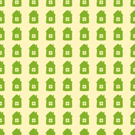 Seamless background with green cartoon style houses isolated on flaxen background. Textile, wrapping paper, wallpaper, boxes decoration, other packing elements template