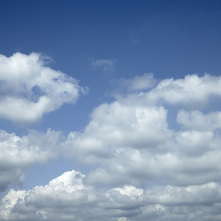 Large white clouds in the blue sky