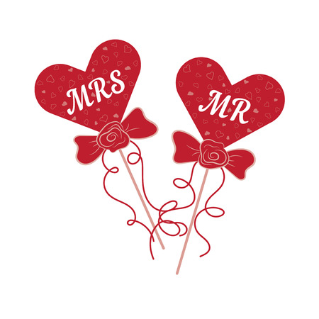 Vector wedding red hearts MR and MRS on a stick. Element for your wedding designs, wedding business projects, logo, and other your projects