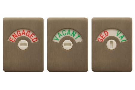 Photo for Toilet door locks, with all three settings, Engaged, Vacant and Undecided. - Royalty Free Image