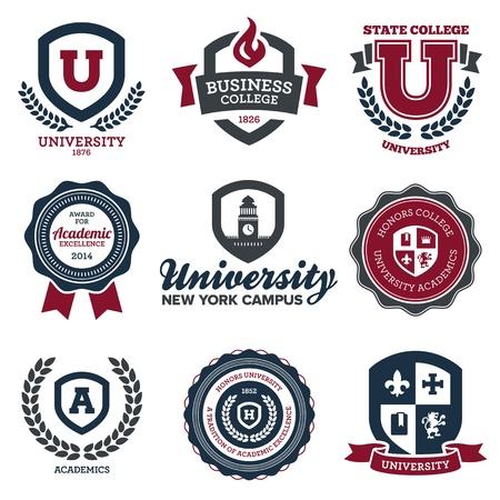 Illustration pour Set of university and college school crests and emblems - image libre de droit