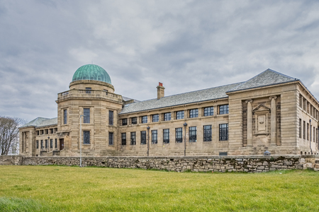 Troon, Scotland, UK - April 14, 2019: The impressive buildings of Marr College a state funded secondary school. It is owned by the Marr Trust and is operated by South Ayrshire Council in Scotland.
