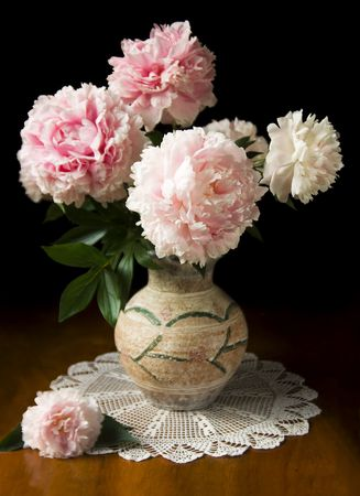Photo for Still-life with pink peony in vase - Royalty Free Image