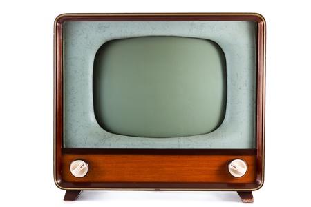 Photo pour 1960's old television on a white background - image libre de droit