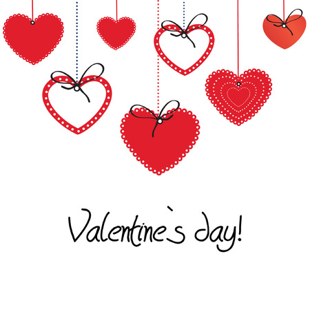 Ilustración de Vintage valentine card with cute hearts  - Imagen libre de derechos