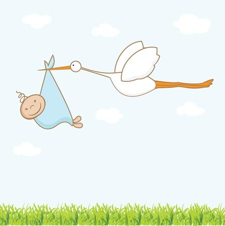 Illustration pour Baby arrival card with stork that brings a cute boy - image libre de droit
