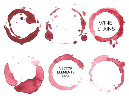 set of watercolor painted wine stains on  white background