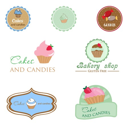 Set of vintage style logo with cupcake and candies. Good idea for label, banner, logo or other design