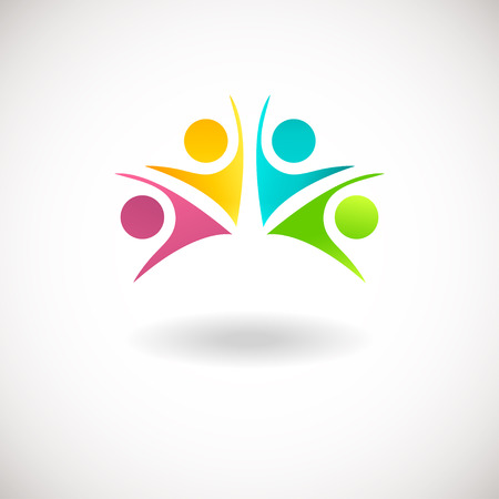 Foto de Abstract people logo, sign, icon. Blue, pink, green and yellow people symbols. Vector concept for social network, team work, business company, partnership, friends, family and other - Imagen libre de derechos