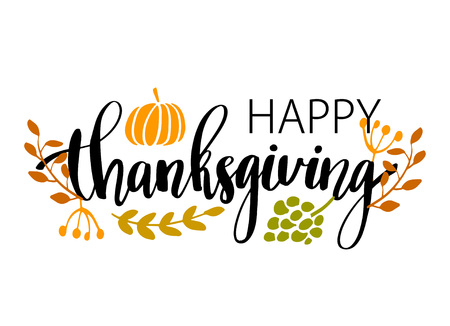 Ilustración de Hand drawn Happy Thanksgiving typography poster. Celebration quote Happy Thanksgiving with harvest food and leaves for Thanksgiving postcard, icon or badge. Vector vintage style calligraphy lettering holiday quote - Imagen libre de derechos