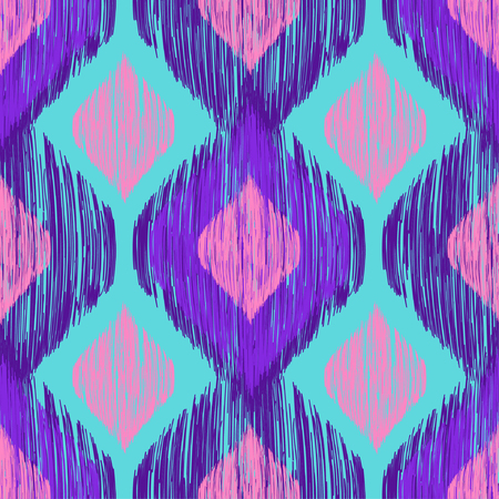 Illustration pour Bright neon colors seamless trenfy pattern. Ethnic tribal colorful smudged ikat print. Vector seamless background - image libre de droit