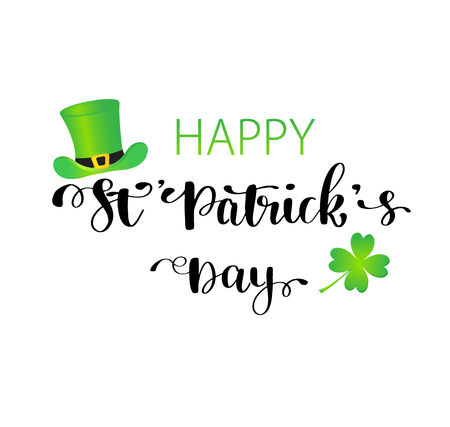 Illustration pour St. Patrick s Day greeting card, poster, banner. Vector illustration. Hand lettering text Happy St Patrick s Day. Irish green hat and shamrock clover leaf isolated on white background - image libre de droit