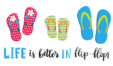 Illustration for Life is better in flip-flops. Letetring text and three pair of beach shoes isolated on white. Summer vacation concept typography poster. Vector illustration design - Royalty Free Image