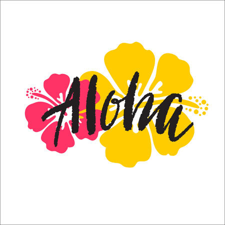 Illustration for Aloha lettering. Vector illustration with hibiscus for print. - Royalty Free Image