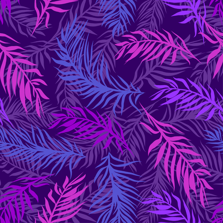 Illustration for Seamless tropical palms leaves pattern. Beautiful exotic abstract design in vibrant, neon colors on dark background, can be used for clothing, textile, fashion, interior, stationery, web. - Royalty Free Image