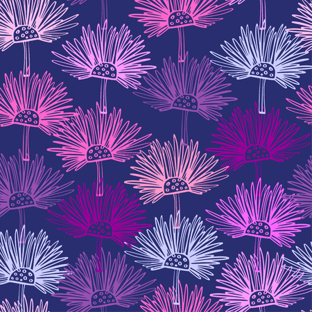 Illustration pour Seamless pattern with abstract flowers. Scottish thistle floral background. Can be uset for textile, wallpapers, prints and web design. Vector illustration - image libre de droit