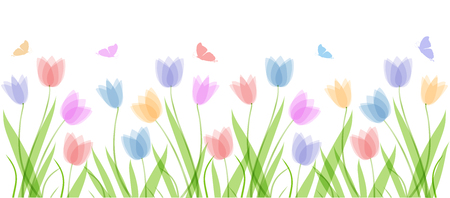 Illustration pour Vector background template with hand drawn pastel colors tulips and butterflies. Lettering text Welcome Spring. Elements for design, scrapbooking, packaging, wallpaper - image libre de droit