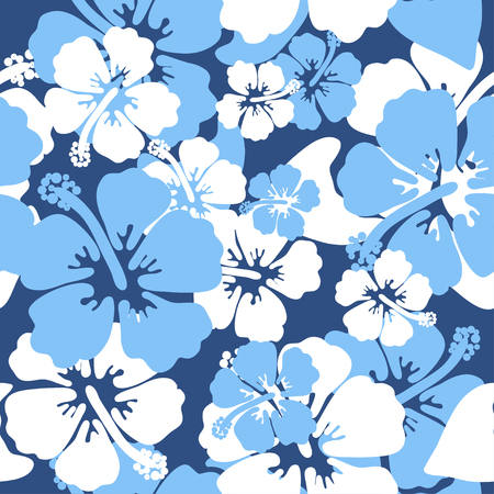 Illustration pour Hibiscus seamless background. Aloha Hawaiian shirt design. Vector illustration for clothing, textile in blue and white colors - image libre de droit