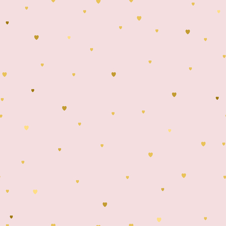 Ilustración de Seamless pattern with small gold hearts on pink background. Fashion style. Design backdrop for Textile, wallpaper, scrapbooking, wedding invitation card. Vector illustration for Mother or Valentines day - Imagen libre de derechos