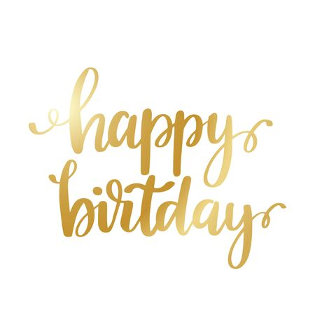 Illustration for Happy Birthday - gold glittering lettering design - Royalty Free Image