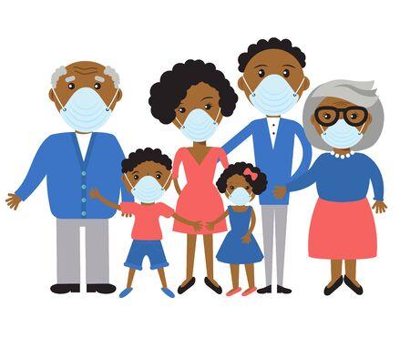 Illustration pour family wearing protective Medical mask for prevent virus  Covid-19. - image libre de droit
