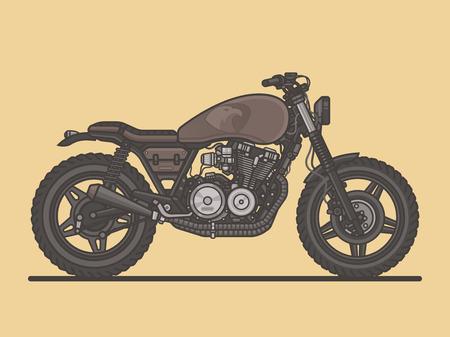 Illustration pour Cafe Racer. Classic Vintage Motorcycle. Motorbike Flat Vector Illustration - image libre de droit