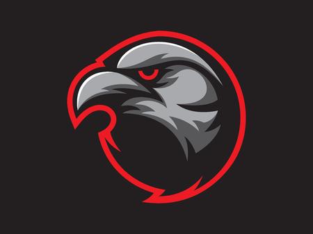 Illustration pour Black crow mascot design for logo. Sports branding. Crow head badge. Sport logo vector template - image libre de droit