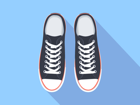 Illustration for Sneakers top view. Flat sport shoes vector illustration. Isolated realistic keds - Royalty Free Image