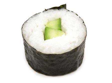 cucumber maki roll over white background