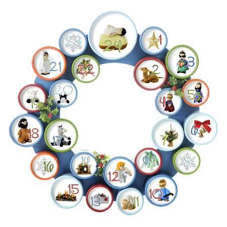 A circle composed of 24 numbered smalled circles, each with an image from the Nativity or generic Christmas item   Isolated on white