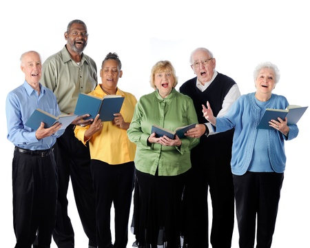 Six happily singing senior adults   On a white background