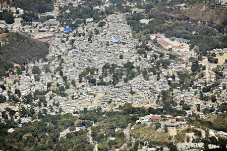 An overhead view of a very crowded neighborhood in Port Au Prince, Haiti