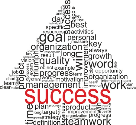 Success concept related words in tag cloud isolated on white  Arrow with different association terms