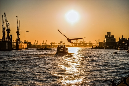 Photo for Sunset on Hamburg   Here is the second biggest harbor of Europe which shows its beauty at the end of the day - Royalty Free Image