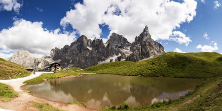 mountain lake at the foot of the Pale di San Martino, Trentino - Italy