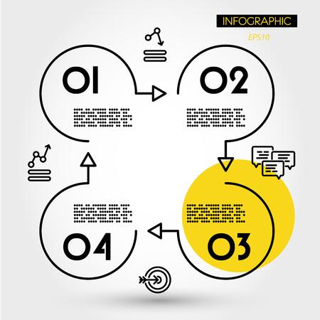 Illustration pour yellow linear infographics square with four rings, four options - image libre de droit