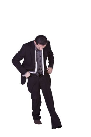 Businessman Putting His Pants On Getting Ready - Isolated Background