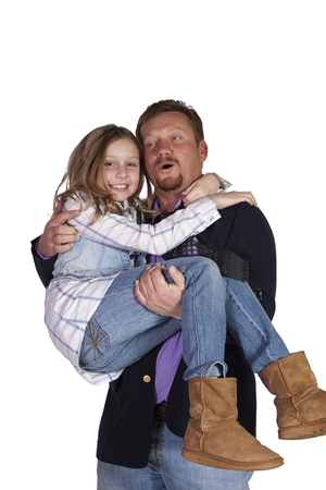 Loving Father and Daughter Posing- Isolated Background